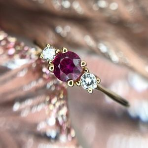 14kt Yellow Gold .30ct Ruby & .04tcw Diamond Ring